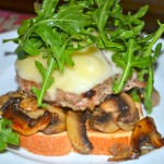 Open-Face Turkey Burgers w/Gruyere, Mushrooms, & Arugula Salad