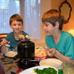 kids eating fondue
