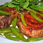 Pork Chops & Sugar Snap Peas w/Mint Julep Glaze