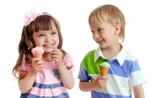 happy kids with ice cream