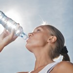 girls drinking water bottle