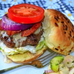 Jalapeno Cheeseburgers w/Bacon & Grilled Onions