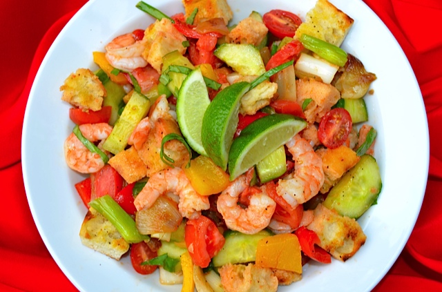 Grilled Gazpacho Salad w/Shrimp | Tips From Town