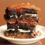 Chocolate Chip Cookie & Oreo Fudge Brownie Bars