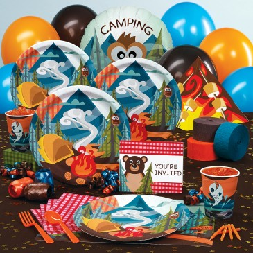 Lets Go Camping Deluxe Party Pack For 8 Includes Dinner Plates Cups Forks Spoons Activity Placemats 16 Napkins Tablecover Centerpiece And More