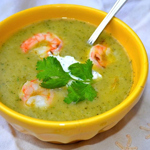 Chilled Zucchini Soup w/Lemon-Cumin Shrimp & Cilantro ...