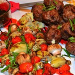 Grilled Fontina-Stuffed Meatballs & Veggie Kabobs