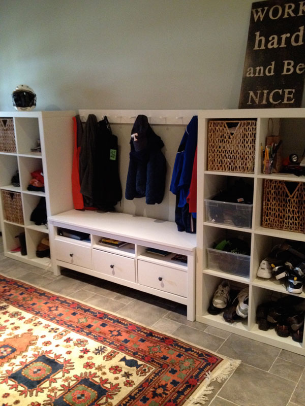 Instant mudroom and mini bar diy the ikea way tips from town - Porte manteau mural ikea ...
