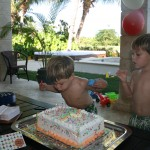 twins, boys, birthday, cake