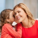 mother, daughter, whispering, talking, laughing