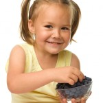 girl, snack, blueberries, happy, child, fruit