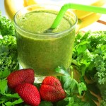 smoothie, parsley, kale, strawberries, banana, flaxseed