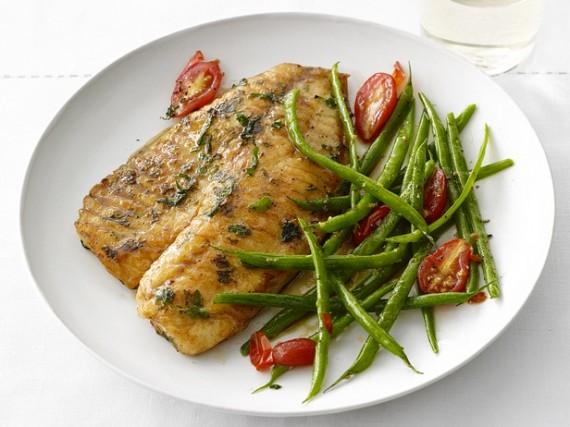 tilapia, fish, quick, green beans, dinner
