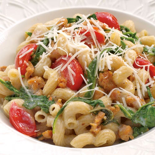 turkey, sausage, turkey sausage, pasta, arugula, healthy