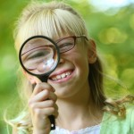 child, girl, magnifying glass, searching, looking