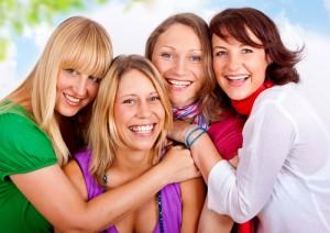 women, group, having fun, laughing
