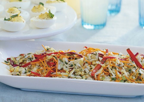 coleslaw, corn, cabbage, slaw, cilantro, orange dressing, cilantro and orange dressing