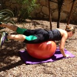 move of the week, frog kicks, bent leg, straight leg, exercise ball, glutes, hamstrings, core