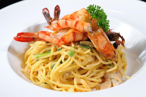 shrimp, pasta, angel hair, garlic, white wine, dinner