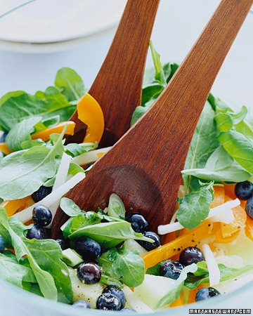 summer salad, blueberries, arugula, orange bell pepper, jicama, honeydew