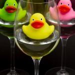 wine and kids, wine glass, rubber ducks
