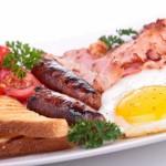 breakfast, eggs, sausage
