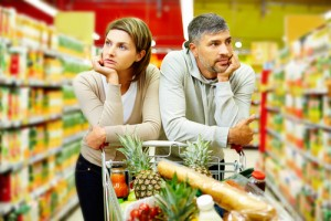 man, woman, food shopping, unhappy