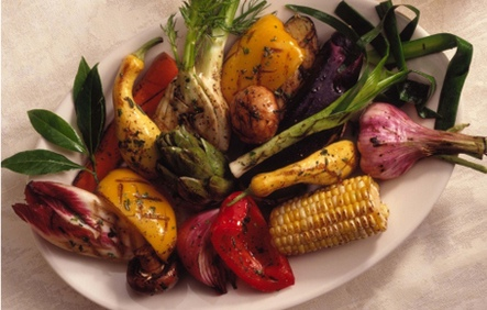 vegetables, grilled, grilled vegetables, eggplant, red onion, pepper, zucchini, asparagus, carrot, lemon, thyme, shallots