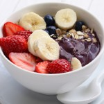 acai bowl, bananas, strawberries, granola, fruit and acai bowl