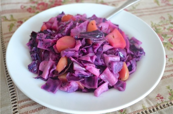 cabbage, red cabbage, braised cabbage, apple, apples