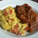 Irish Bangers & Colcannon w/Guinness Onion Gravy