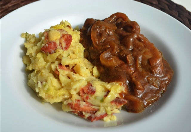 Bangers And Colcannon With Guinness Onion Gravy Recipe ...