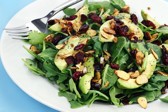 Cranberry-Avocado Salad w:Candied Spiced Almonds