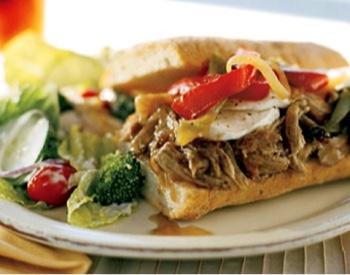 Hot Slow-Roasted Pork, Onion, and Mozzarella