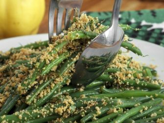 Lemony Green Beans w:Almond Breadcrumbs