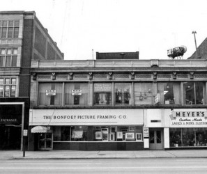 The Adams Building, a two-story commercial building on the south side of Euclid Ave. in Playhouse Square, location of Meyer's Custom Tailoring, and the Bonfoey Co. 1965. Courtesy of The Michael Schwartz at Cleveland State University.