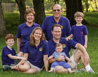 The Rhodes Family: Karen and Bob, Rebecca and Todd and their 3 children.