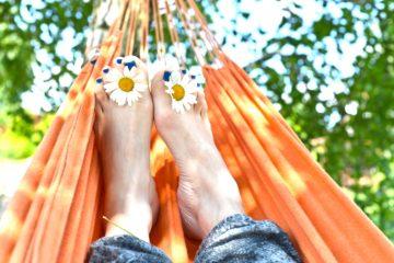 feet up in hammock