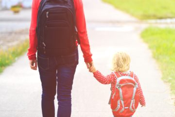 school preschool mom walking child