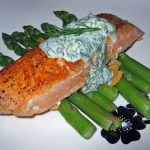 Pan Seared Salmon w/Dill Sour Cream Sauce
