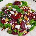 Roasted Red and Yellow Beet Salad with Candied Walnuts