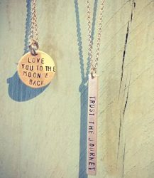 Hand-etched necklaces from Blush.
