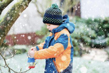 little boy snow birdhouse