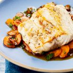 Striped Bass w/Sweet Carrots & Cider Glaze