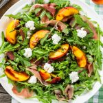 Peach, Proscuitto & Arugula Salad with Goat Cheese and Balsamic Dressing