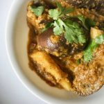 Curried Vegan Eggplant with Fresh Ginger & Cilantro